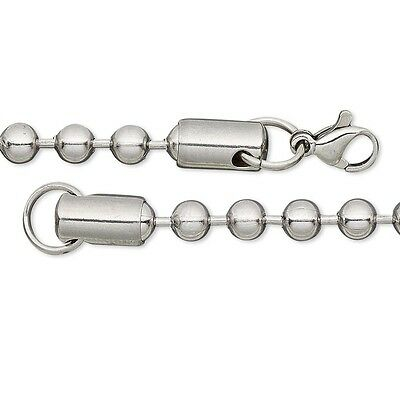 - Solid 304 Surgical Stainless Steel Ball Chain Dog Tag Style Polished Necklace