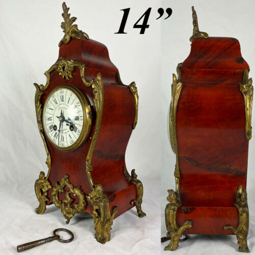"""Superb Antique French Boulle Rouard Mantel Clock, 14"""" Tall, Working and Complete"""