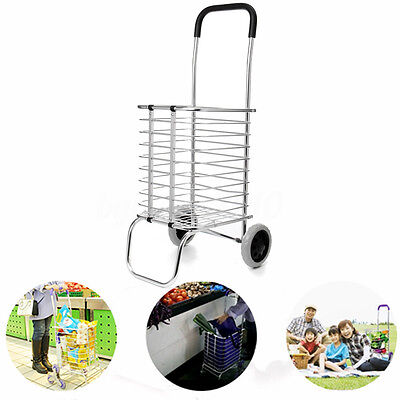 Two Wheel Aluminum Folding Portable Shopping Market Grocery Basket Cart Trolley