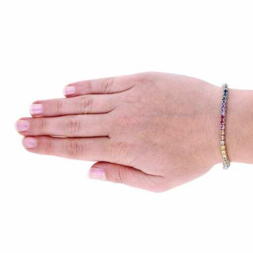 "925 Sterling Silver 3mm Multicolor Rainbow CZ Tennis Bracelet 7.25"" 5"