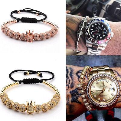 Christmas Bracelets (Luxury Men Zircon Balls Hand-Woven Diy Copper Beads Charm Bracelets Xmas)