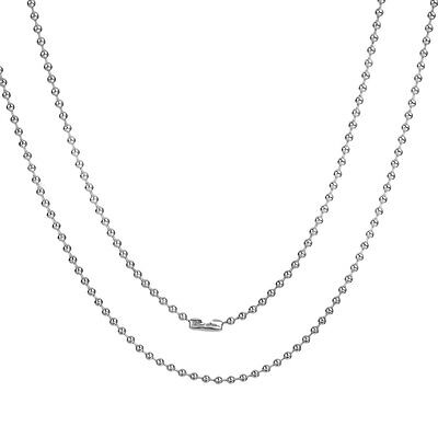 Stainless Steel 22 Inch 2 mm Ball Cylinder Link Neck Chain Necklace