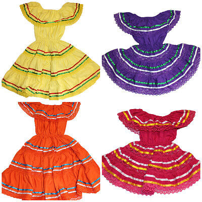Assorted Girls Mexican Gypsy Peasant Lace Dress Cinco De Mayo Costume