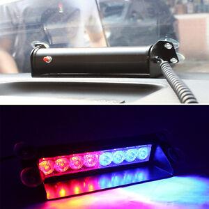 Car Truck Police Strobe Flash Light Dash Emergency 3 Flashing Mode Red/Blue