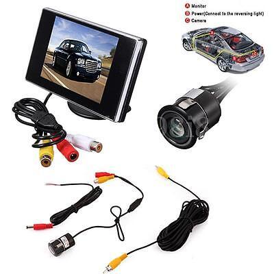 "CAR BUS TRUCK VAN REAR VIEW KIT 3.5"" LCD MIRROR MONITOR + IR REVERSING CAMERA"