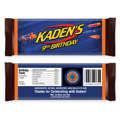12 Nerf Gun Wars Target Birthday Party Hershey Personalized Candy Bar Wrappers