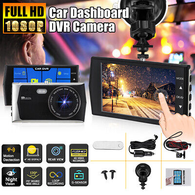 "4"" HD 1080P Dual Lens Camera 170° Car DVR Video Dash Cam Recorder Touch screen"