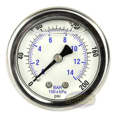 2 Back Mount 14 Liquid Filled 200 Psi Compressed Air Compressor Pressure Gauge