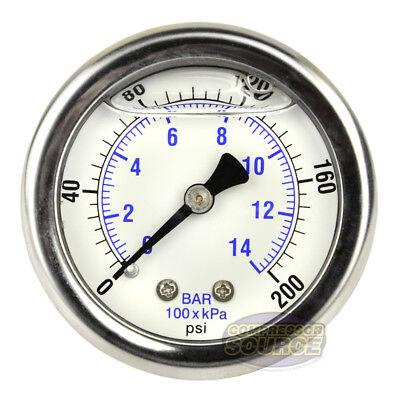 2 Back Mount 14 Liquid Filled 200 Psi Compressed Air Compressor Pressure Gauge