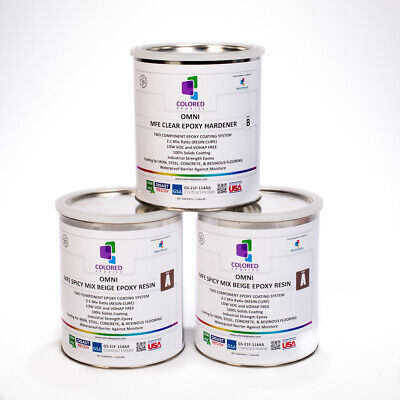 Dark Beige Epoxy Paint 21part For Garage Floor Basement Concrete. 3 Galkit