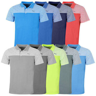 Puma Golf Mens Clubhouse Striped Stretch dryCELL Polo Shirt Top 47% OFF RRP