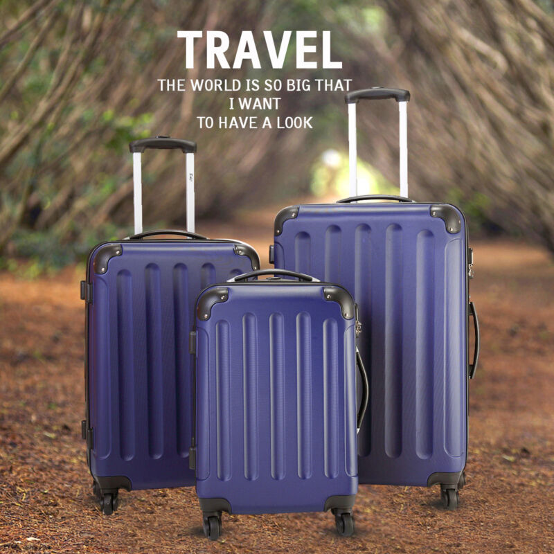 BHC 3 Pcs Luggage Coded Lock Travel Set Bag ABS+PC Trolley Suitcase Deep