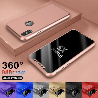 For iPhone 6 7/8 Plus XR XS Max 360°  Full Protective Hard Case+Screen Protector