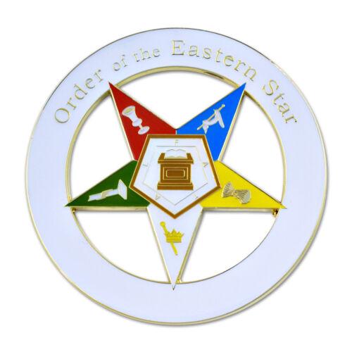 Order of the Eastern Star Round Masonic Auto Emblem - [3
