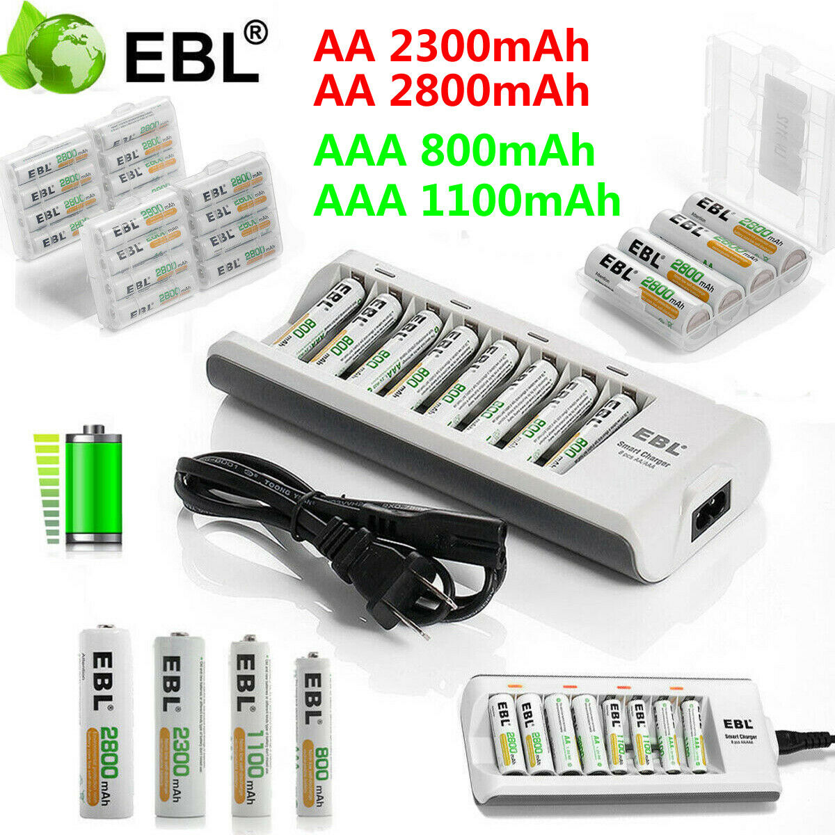 Lot EBL AAA AA Ni-MH Rechargeable Batteries +8 Slot Smart Ch