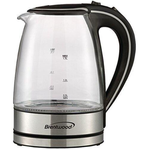 KT-1900BK 1.7L Borosilicate Glass Tea Kettle in Black