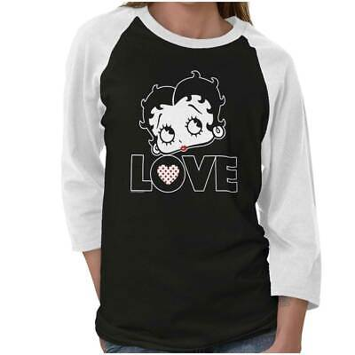 Vintage Betty Boop Fashion Cartoon Retro Gift Adult 3/4 Sleeved Raglan -