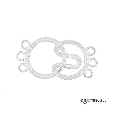 Sterling Silver 3-Strand Round Hook and Eye Clasp #99586 3 Strand Hook Clasp