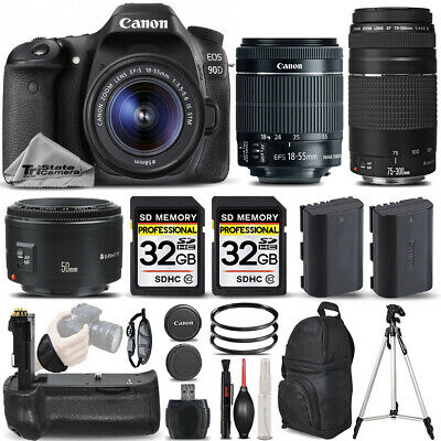 Canon EOS 90D DSLR Camera with 18-55mm STM Lens + 75-300 III + 50mm 1.8 &MORE!