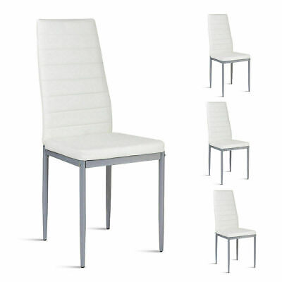Set of 4 Dining Chairs Steel Frame High Back Armless Home Furniture White New