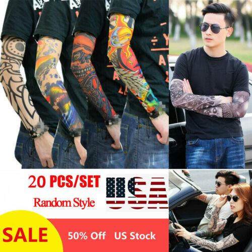 20 Pcs Tattoo Cooling Arm Sleeves Cover Basketball Golf Sport UV Sun Protection