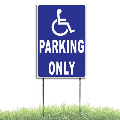 Reserved Handicap Parking Only Coroplast Sign Plastic Indoor Outdoor H Stake