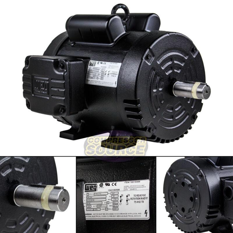 5 HP Air Compressor Duty Electric Motor 184T Frame 1750 RPM Single Phase WEG