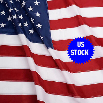 USA US U.S. American Embroidered Flag 3'x5' FT Sewn Stripes Stars Grommets
