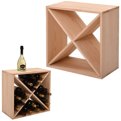 Wood Wine Rack 24 Bottle Holder Glass Display Bar Storage 24' Wood Rack Bars