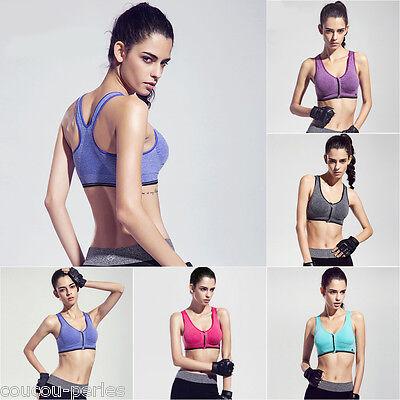(Women Sports Bra Front Zipper Yoga Gym Workout Running Vest Shapewear Tank Tops)