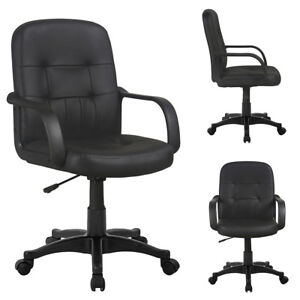 Adjustable Swivel Office Chair Comfort PU Leather Pad Mid-Back Computer Desk New  sc 1 st  eBay & Comfortable Office Chair | eBay