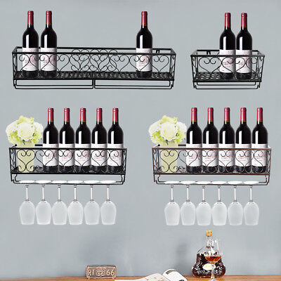 Wall Mount Metal Wine Rack Bottle Champagne Glass Holder Storage Bar Accessory