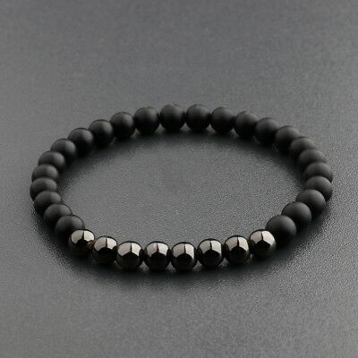 6MM Natural Stone Black Copper Beaded Women Men's Bracelets Charm Jewelry Gift