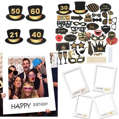 0th Happy Birthday Paper Photo Frame Booth Props Party Decor (21st Birthday Party Dekorationen)