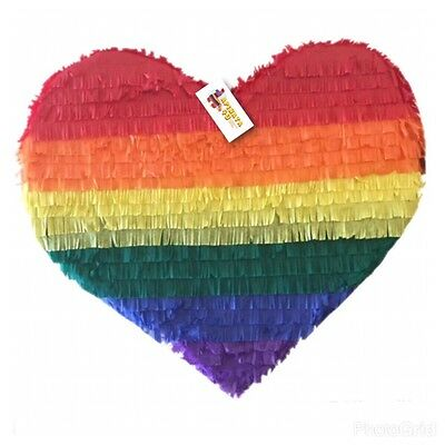 APINATA4U Rainbow Heart Pinata LGBT Party Favor Valentine's Day - Valentines Pinata