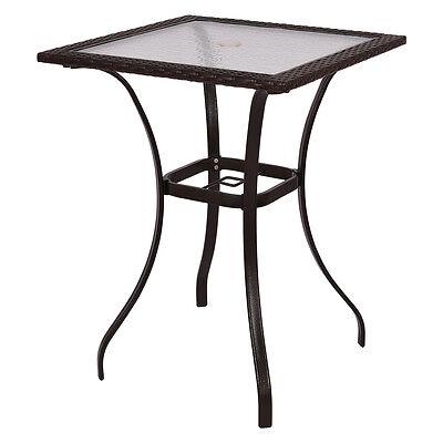 Garden Furniture - Outdoor Patio Rattan Wicker Bar Square Table Glass Top Yard Garden Furniture