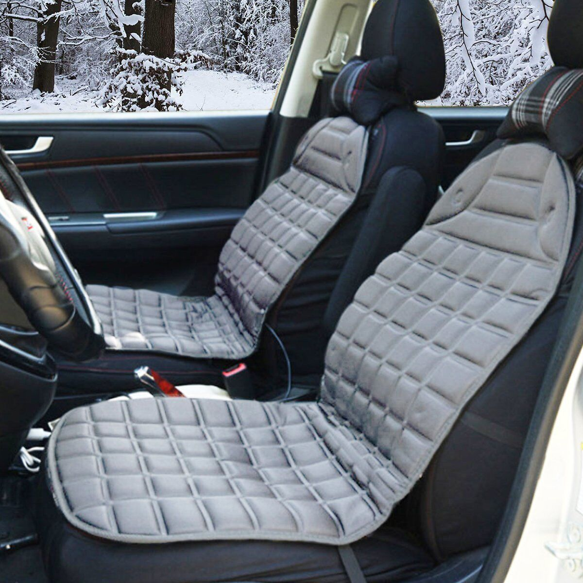 Zone Tech  Gray 2x Thickening Heated Car Seat Covers Warmers