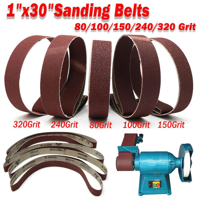 """5Pcs 1x30"""" Sanding Belts 80/100/150/240/320 Grit Aluminum Oxide Sander  ^."""