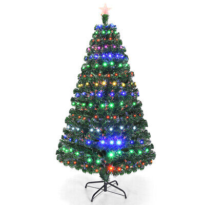6' Pre-Lit Artificial Christmas Tree Fiber Optic w/Multicolor LED Lights & Stand