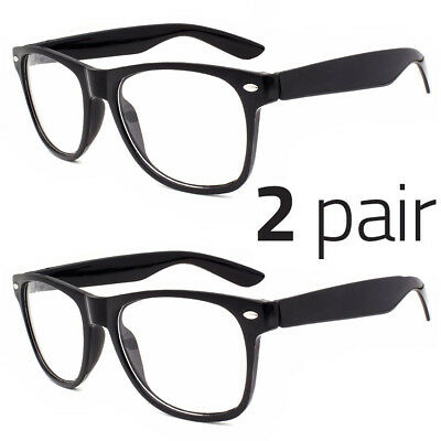 2 PAIR Mens Womens Clear Lens Nerd Retro  Unisex Glasses Fashion Eyewear