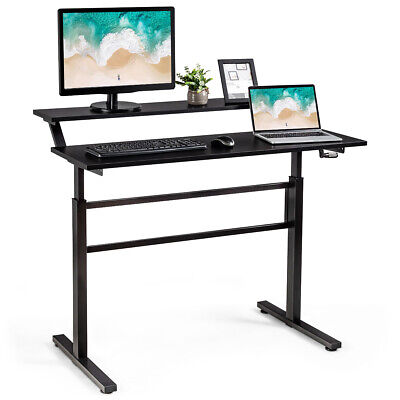 Standing Desk Crank Adjustable Sit To Stand Workstation With Monitor Shelf Black