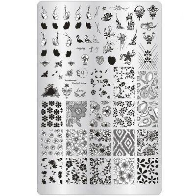 XXL Blume Stamping Schablone Nailart Stempel Platte Fullcover Jelly Stamper