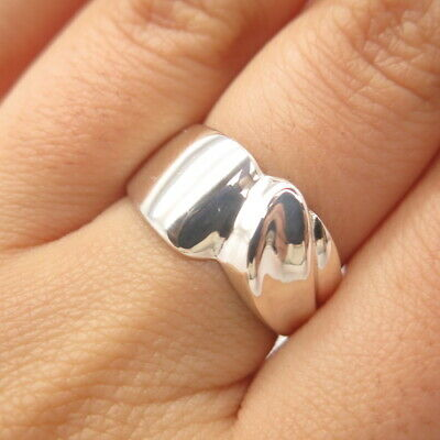 925 Sterling Silver Vintage Modernist Ring Size 7.5