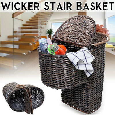 Wicker Handwoven Stair Step Storage Basket Container Box Carry With Handle Cover Stair Step Basket