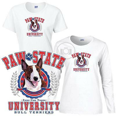 Bull Terrier Paw State University Ladies Short / Long Sleeve White T Shirt S-3X Bull Terrier Ladies T-shirt