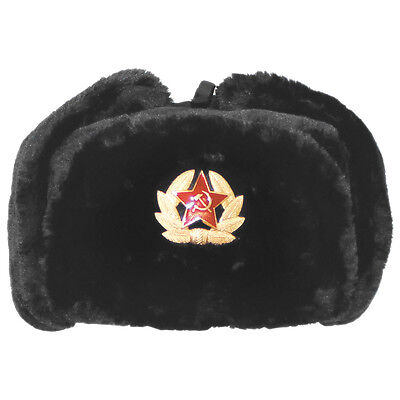 RUSSIAN MILITARY BLACK WINTER HAT USHANKA WITH USSR BADGE! ALL SIZES!