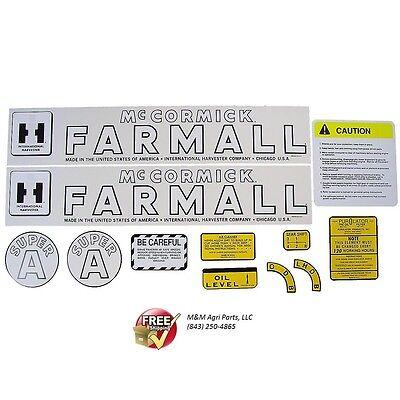 Farmall Super A Tractor Decal Set Ih Mccormick International Super A Decal Kit