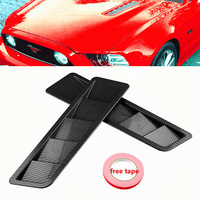 Carbon Fiber Hood Vents - Carbon Fiber Look Style Hood Vent Louver Cooling Panel Trim Fit For Ford Mustang