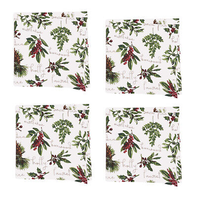"""Winter Botanical Forest Green 18x18"""" Cotton Fabric Christmas"""