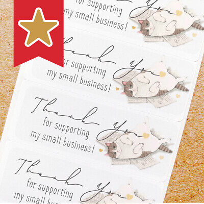 Thank You Labels Stickers For Online Shop Sellers 100ct - Cute Cat On Paper